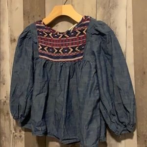 Anthem of the Ants Boho Chambray Tunic size 6